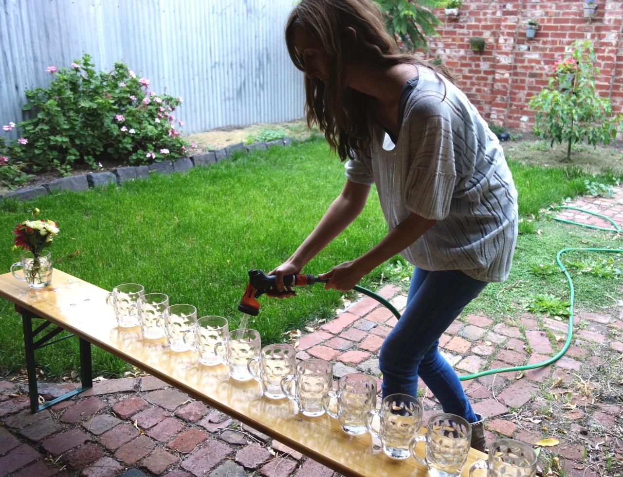 Filling vases for posies