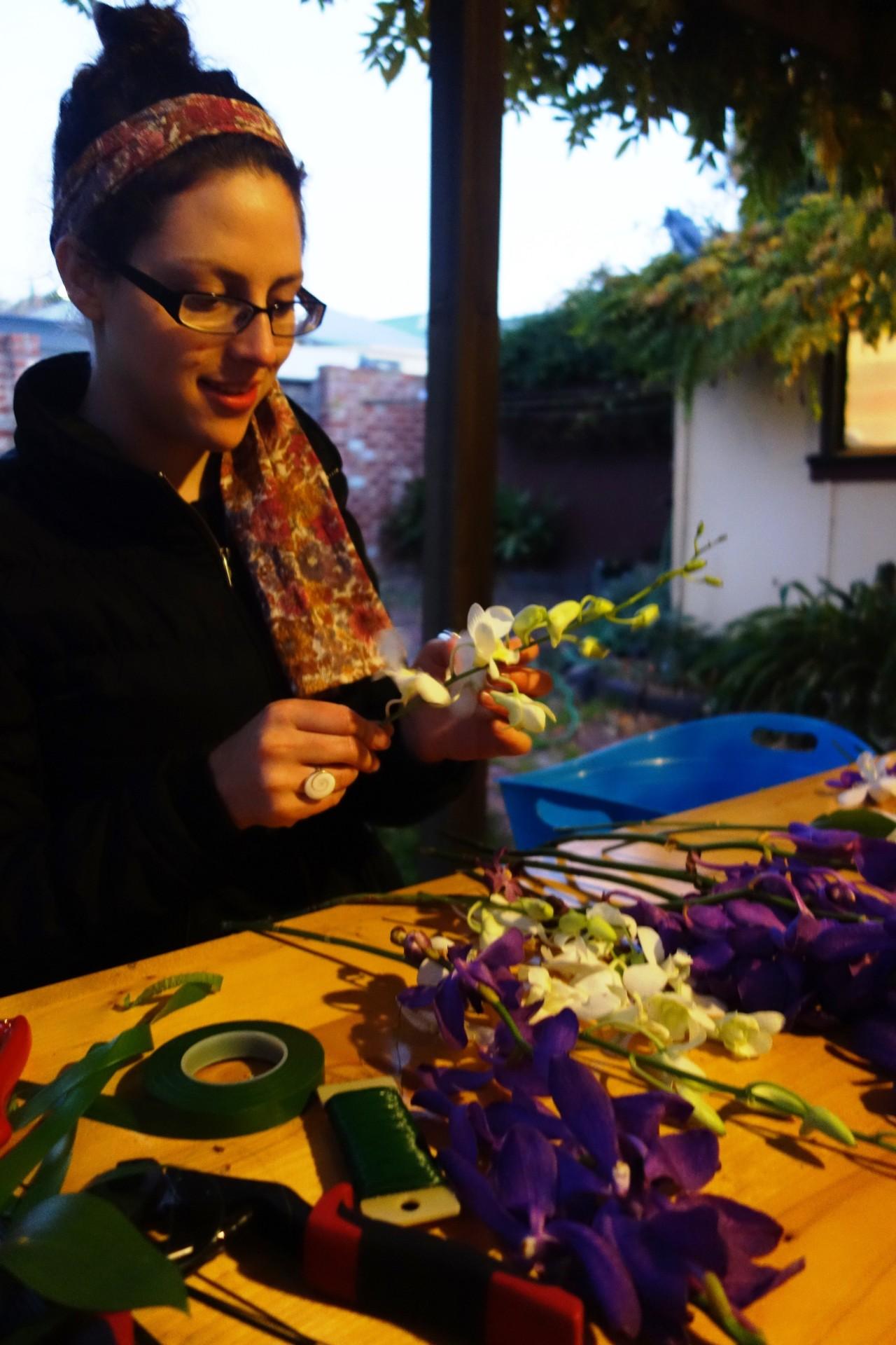 Anna preparing orchids