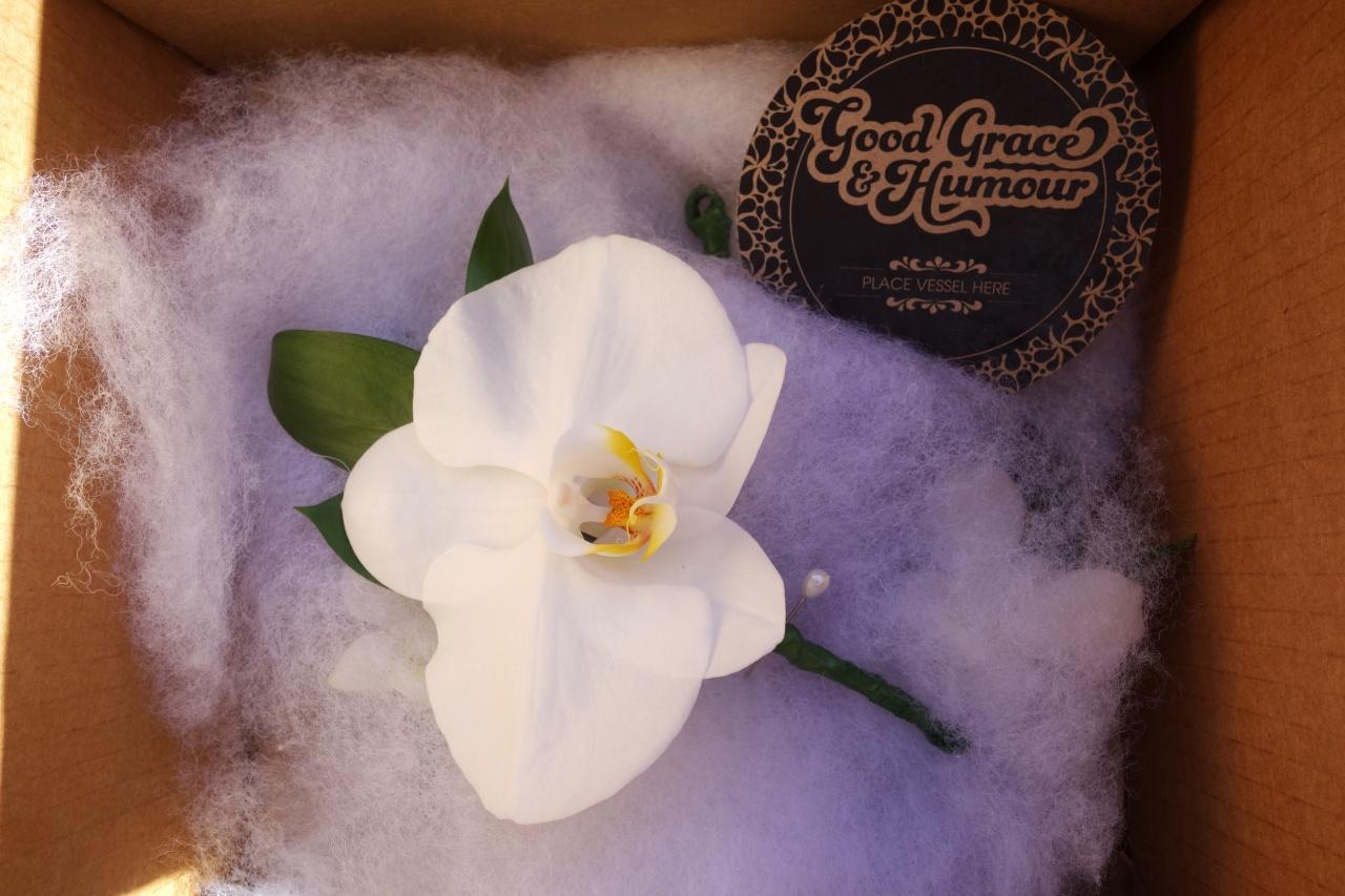 Royal orchid buttonhole / boutonnière