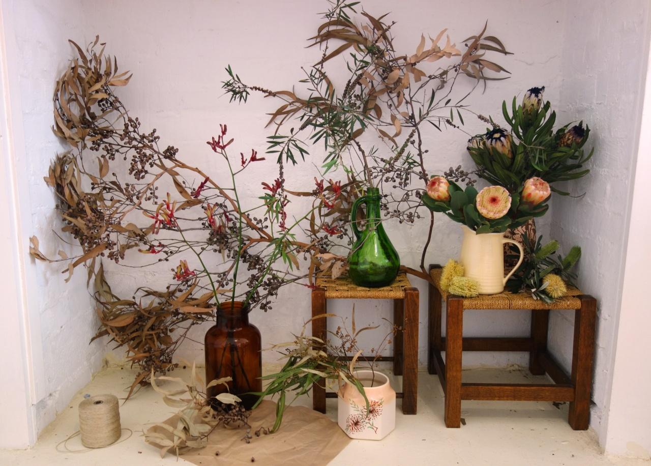 Vintage vessel flower arrangement in Yarraville