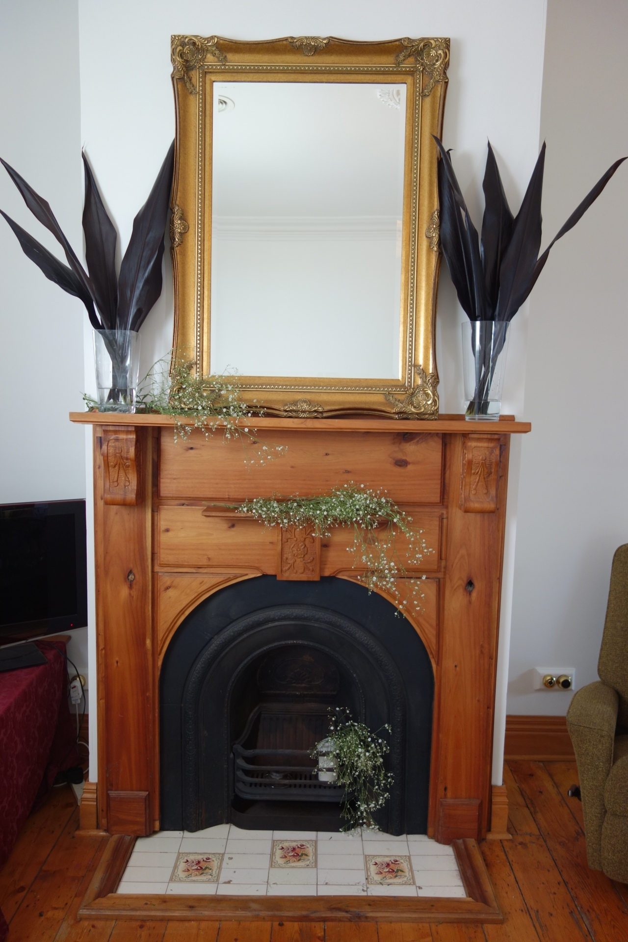 Babys breath flowers in fireplace