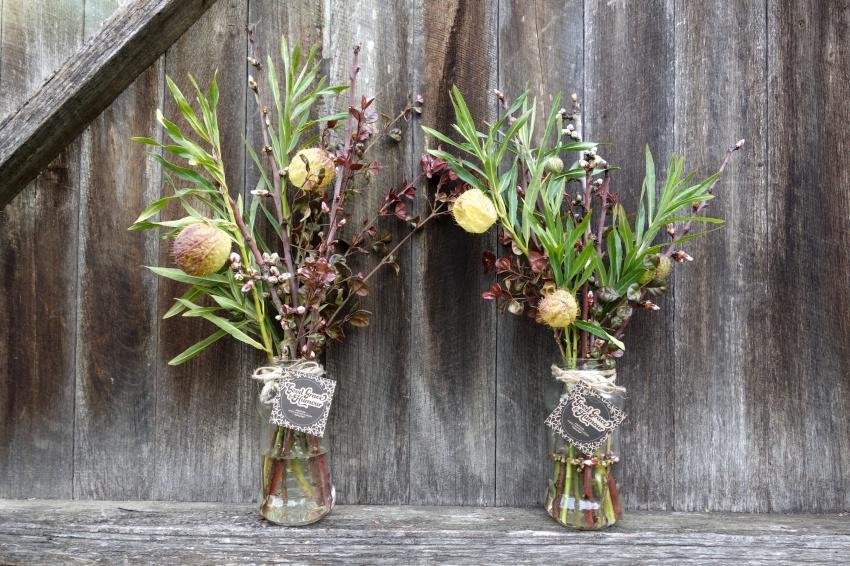 Blossom & swan plant arrangements
