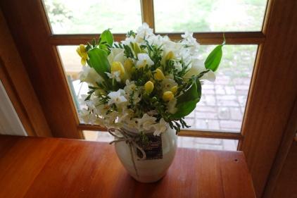 Calla lily, jonquil & freesia arrangement
