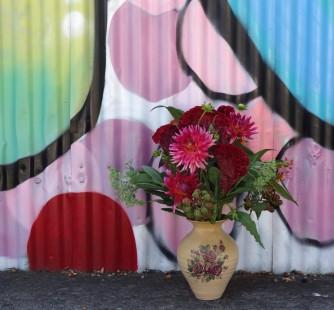 Dahlia, celosia & blackberry arrangement