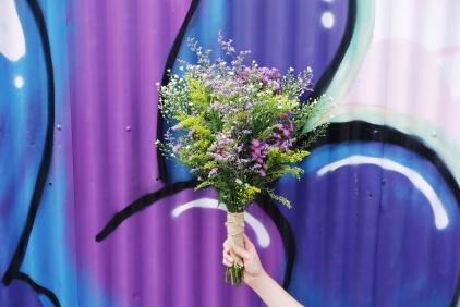 Easter daisy, golden rod & misty bouquet