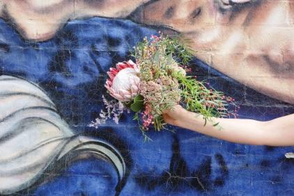 King protea, sedum, peppercorn & misty bouquet