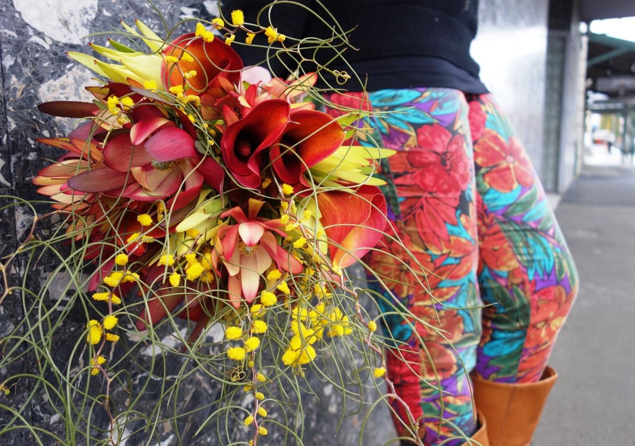 Native flowers, wattle, calla lilies wedding bouquet