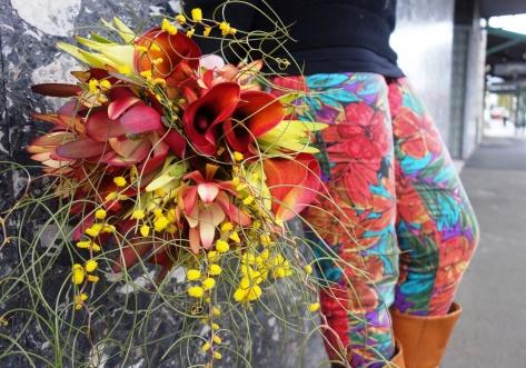 Wattle & calla lily bouquet