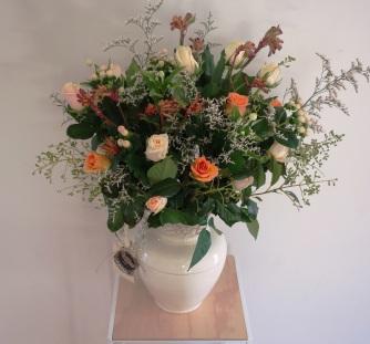 Roses, berries, kangaroo paw, misty & bouvardia arrangement