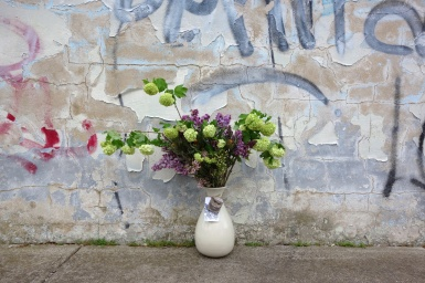 Viburnam, lilac & waxflower arrangement