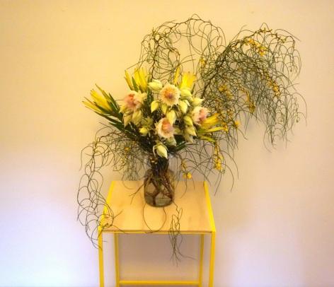 Wattle & blushing bride arrangement