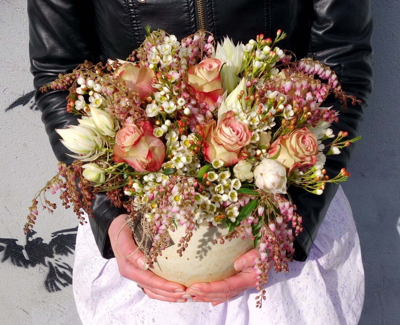 Roses, blushing bride, waxflower, andromeda bouquet