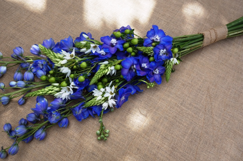 Delphinium, chin chin cherie & berry bouquet
