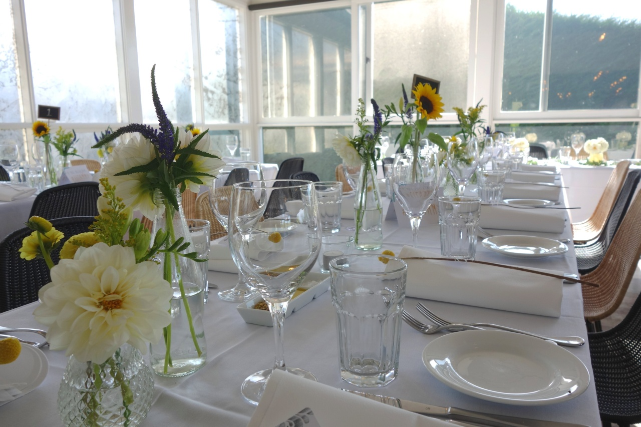 Flowers on tables at reception
