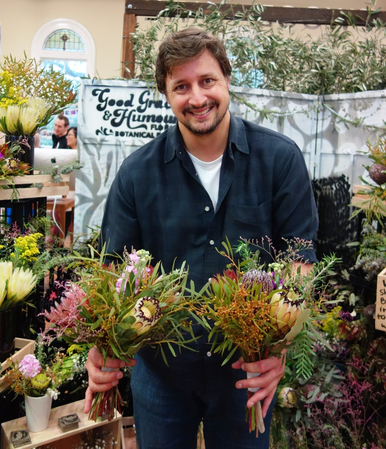 Gavin with bouquets